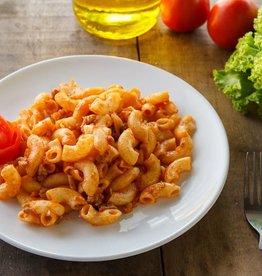 Macaroni met groenten en gehaktballetjes