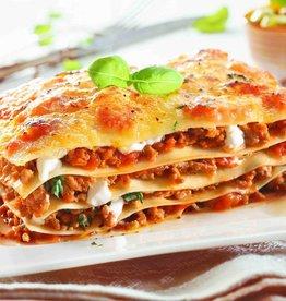 Lasagne van gehakt, groenten en saus