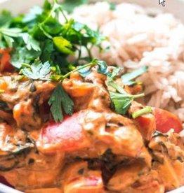 Vegetarische stroganoff met groenten en rijst (V)