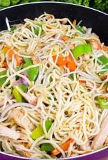 Mihoen met soja, gemarineerde tofu en gegrilde groenten (VEGETARISCH)