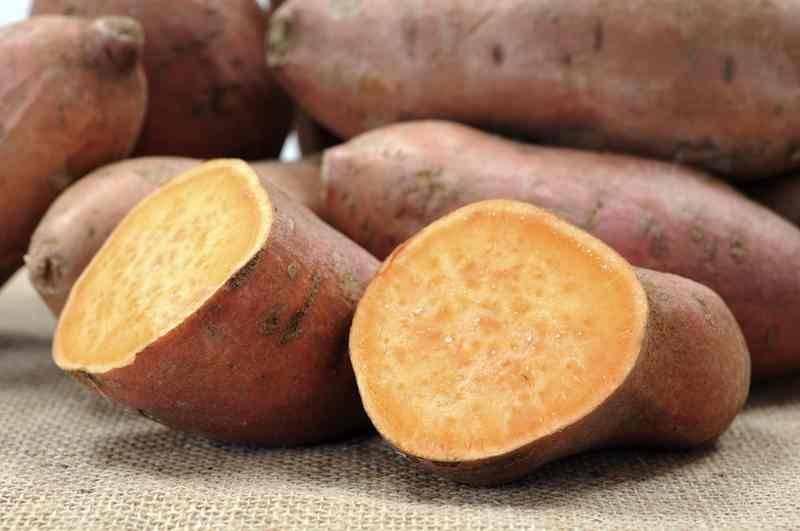 Zoete aardappelschotel met paprika en falafel balletjes (V)