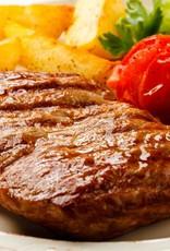 Duitse biefstuk in peperroomsaus met gebakken aardappel & sla (luxe)