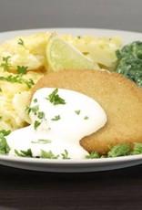 Gebakken visburger met saus, aardappelgratin & spinazie a la crème (luxe)