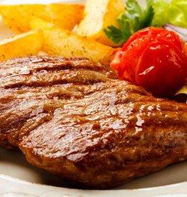 Duitse biefstuk pepersaus, roseval & boontjes