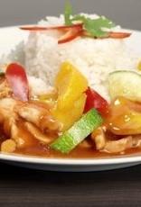 Kip in mangosaus met groenten en basmatirijst