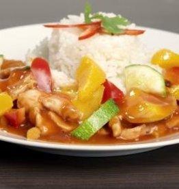 Kip in mangosaus, groenten & rijst