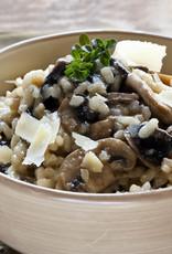 Oesterzwammen gebakken risotto, bospeentjes & groene asperges (vegetarisch)