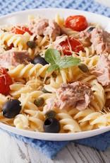 Pastaschelpjes in tomatenroom met tonijn, spinazie en tomaat (luxe)