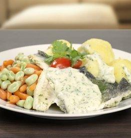 Zeebaars, aardappelen en groente