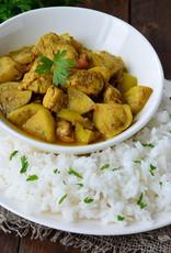 Vegetarische kip in een kerrieroomsaus met rozijntjes en basmati rijst (V)