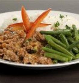 Gehakthachee met rijst & sperziebonen