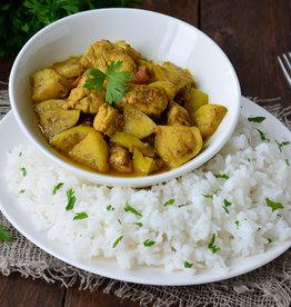 Rundvlees in kokossaus, groenten en rijst