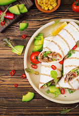 Wrap met geroosterde groenten en salade kaas (V)