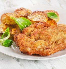 Schnitzel stroganoff, gebakken aardappels & sla