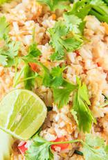 Nasischotel goedgevuld met kip in sesam, sereh en groenten