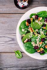 Quinoa met spinazie en falafel in romige saus
