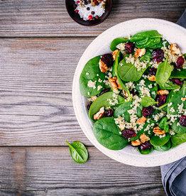 Quinoa, spinazie en falafel (V)