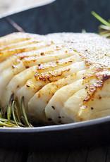 Kabeljauw, aardappelgratin en rabarber