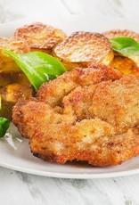 Vegetarische schnitzel met vega jus, spruiten en aardappelpuree