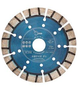 Pristis 125/22,2mm Pristis Beton F1 turbo segment metallic blauw