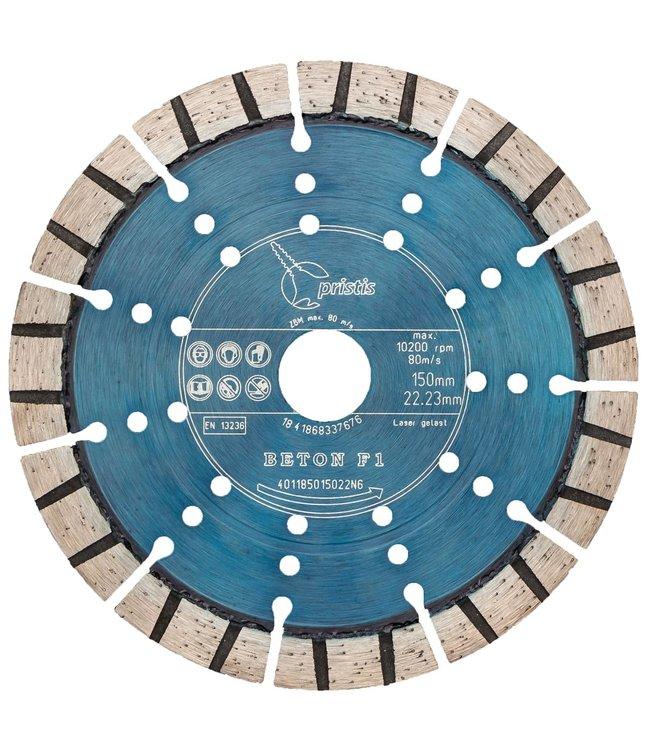 Pristis 150/22,2mm Pristis Beton F1 turbo segment metallic blauw