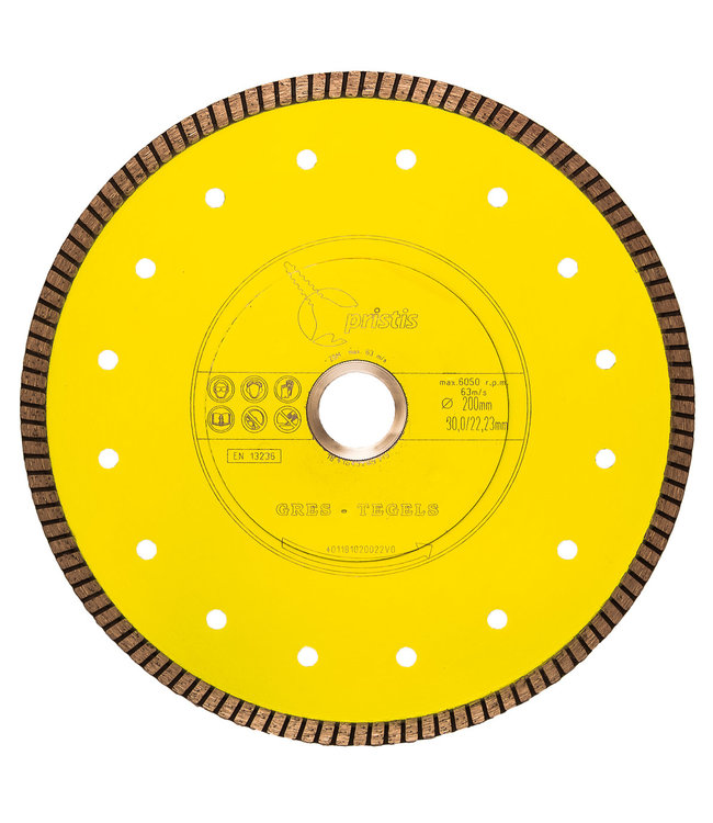 ZBM Diamond Tools 200/30,0/25,4mm x 1,6mm Gres-Turbo keramiek/graniet  geel