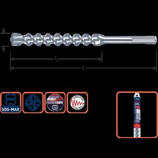 SDS MAX 12 x 200/340 SDS-MAX-aansluiting hamerboor 4 snijder