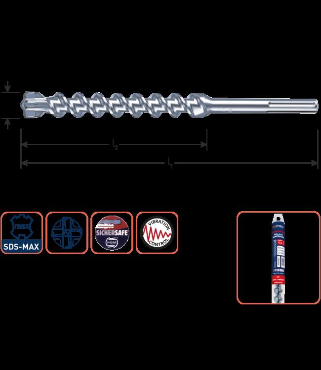 SDS MAX 25 x 600/720 SDS-MAX-aansluiting hamerboor 4 snijder