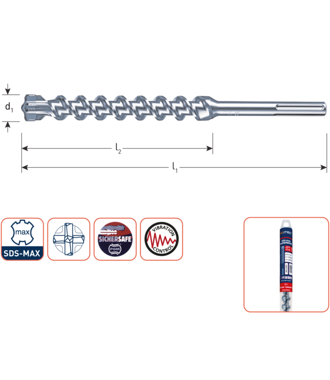 SDS MAX 25 x 800/920 SDS-MAX-aansluiting hamerboor 4 snijder