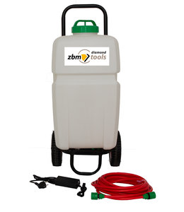 Watertank (35 ltr) met pomp op accu, 10mtr slang + gardena