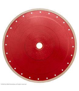 Pristis Diamantzaagblad 350mm / 25,4mm, segmentdikte2,2mm Gres-Turbo keramiek/graniet Rood
