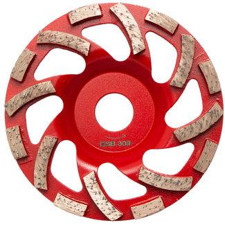 Pristis 125/22,2mm Pristis komschijf Fan Cup segment Rood Ex Soft