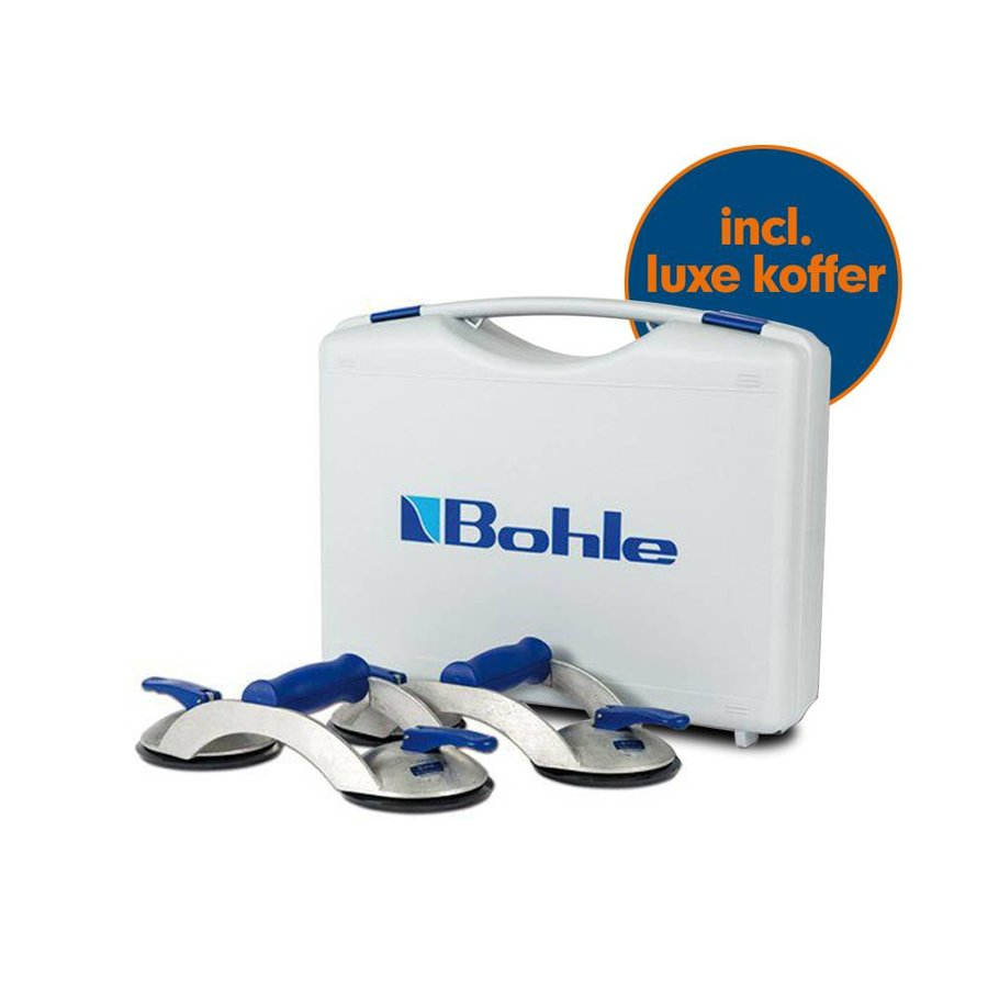 Blue Line 2-naps aluminium glasdrager met dwarsgreep, set van 2 stuks in koffer (BO S2.0BL)