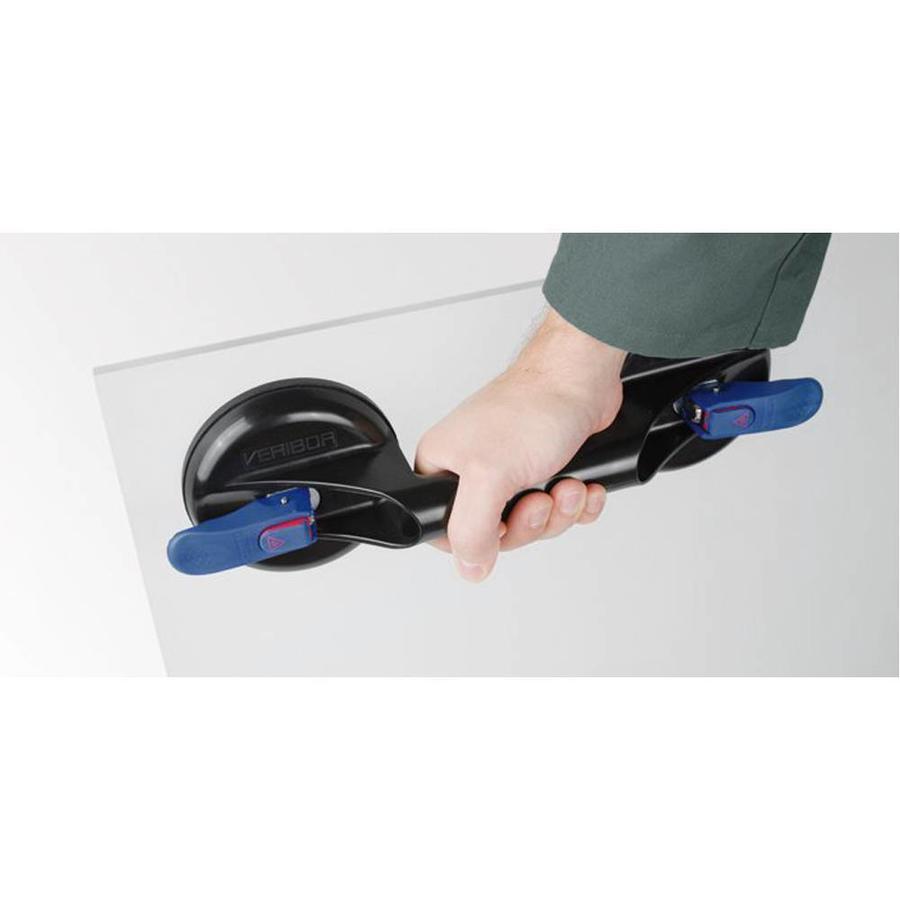 ventouse blue line, 2 têtes BO 602.10BL, en plastique avec affichage du vide