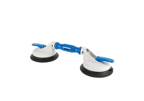 Bohle Veribor® glasdrager KUNSTSTOF met 2 kunststof-scharnierende koppen en grote zuigschijf BO 602.3G, 45 kg.