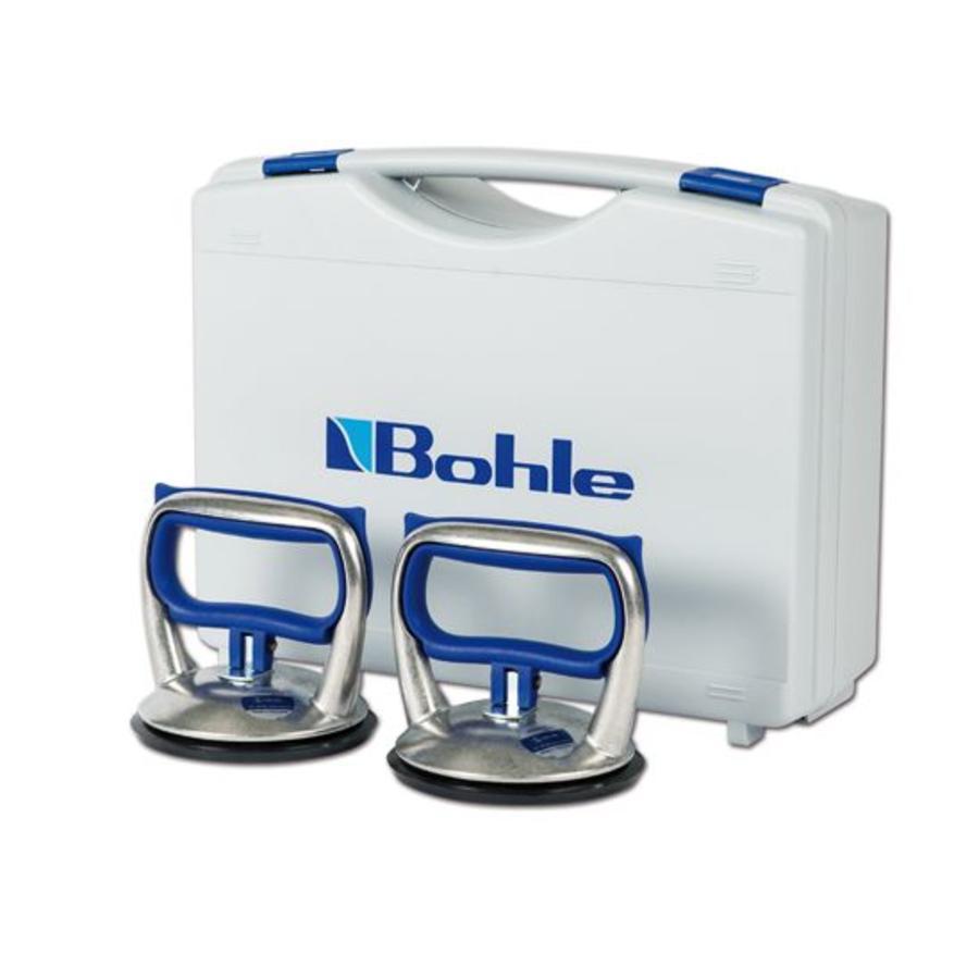 Blue Line 1-naps aluminium glasdrager, set van 2 stuks in koffer (BO S0.0BL)