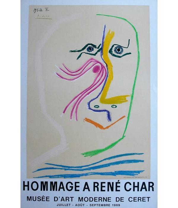 Lithografie Henri Deschamps. Hommage a René Char Pablo Picasso 1969