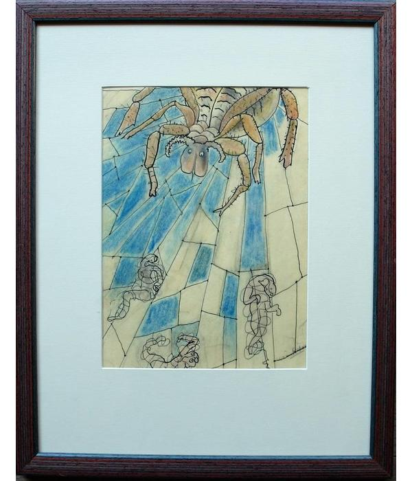 Spider, drawing, mixed media by Wim Retera