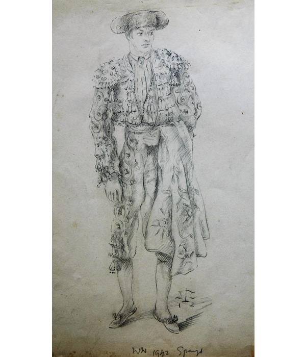 Pencil drawing, depicting Manolete, famous bull fighter by Willem Wagenaar