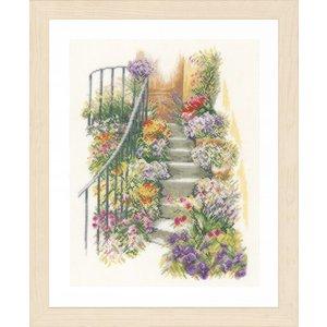 Lanarte Borduurpakket trap met bloemen kaarslinnen