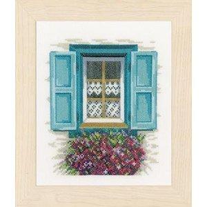 Lanarte Borduurpakket raam met blauwe luiken