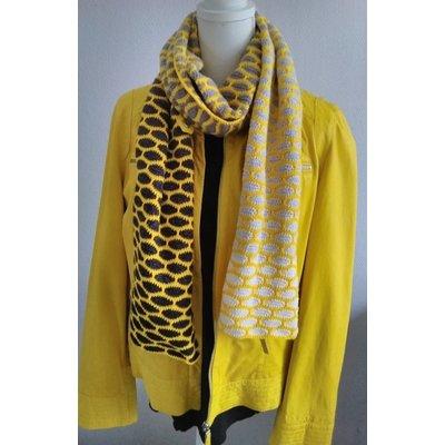 Haakpakket Honinggolfjes sjaal Grijs/Geel