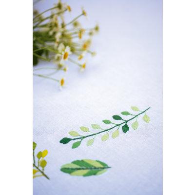 Vervaco Borduurpakket tafelkleed Blaadjes en grassen