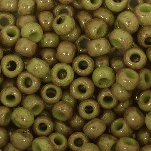 Toho Glaskralen rond 8-0 groen/geel (1209)