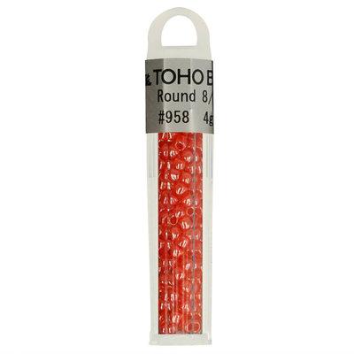 Toho Glaskralen rond 8-0 oranje/rood (958)