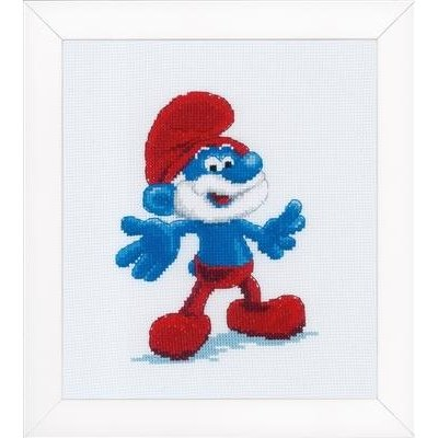 Vervaco Borduurpakket The Smurfs Papa 17 x 18 cm