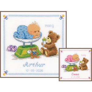 Vervaco Borduurpakket Baby in weegschaal met beer