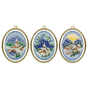 Vervaco Borduurpakket Miniatuur Winterdorpjes -  set van 3