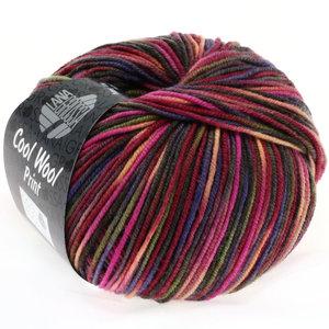 Lana Grossa Cool Wool Print 749 - wijnrood/felroze/geelgroen/blauw violet/zalm/mokka