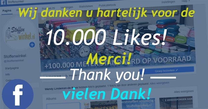 Stoffenwinkel 10.000 likes op Facebook
